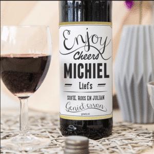 Wijnfles met foto